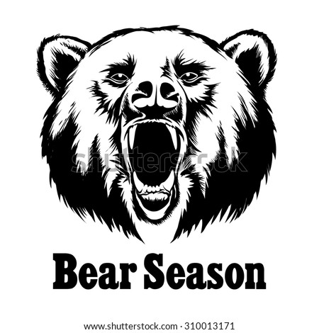 Hand drawn roaring bear. T-shirt design. Wild grizzly, angry animal head illustration - stock photo