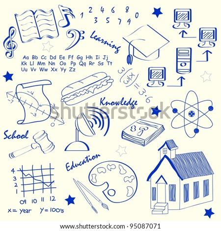 Hand Drawn School Icons - stock photo