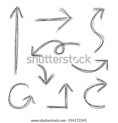 Hand drawn scribble arrows sketch - stock photo