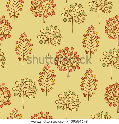 Hand Drawn seamless floral patterns.Stylized Decorative trees with berries in yellow.Illustration for design of gift packs,wrap,patterns fabric,wallpaper,web sites.Nature backdrop,repeated background - stock photo