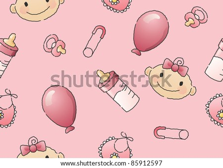 Hand-drawn seamless JPEG illustration of a baby's head and baby items. Also available as vector file. - stock photo