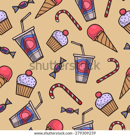 Hand drawn seamless pattern with confection. Raster version. - stock photo