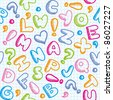 hand drawn seamless pattern with funny alphabet - stock photo