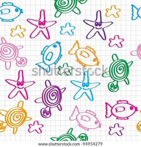 hand drawn seamless pattern with funny colored marine life. Raster version. - stock photo