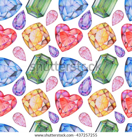 Hand drawn seamless pattern with gemstones Topaz, Sapphire, Ruby, Emerald, Amethyst, Tourmaline. Colored pencils faceted gems background.