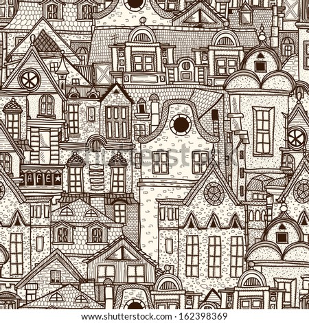 Hand-drawn seamless pattern with old town. Raster copy - stock photo