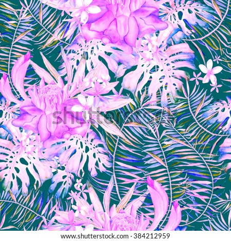 Hand drawn seamless watercolor pattern with palm leaves, monstera leaves and ginger flowers. Floral botanic unique illustration with exotic flowers and leaves.