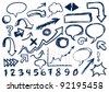 Hand-drawn Set Of Arrows, speech-bubbles, numbers, and other scribbles - Jpeg Version - stock vector