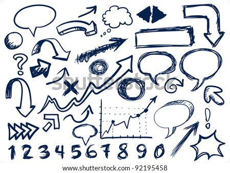 Hand-drawn Set Of Arrows, speech-bubbles, numbers, and other scribbles - Jpeg Version - stock photo