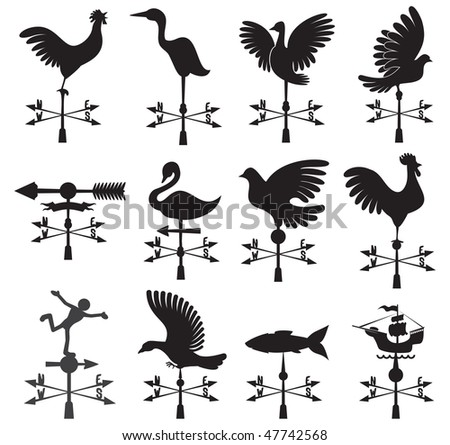 Hand drawn set of different weather vanes (vector id=47574379 ) - stock photo