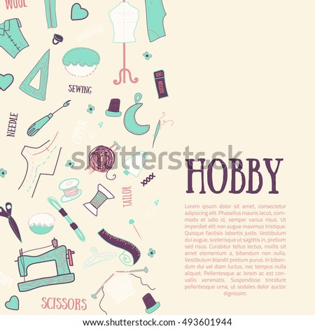 Hand Drawn Sewing Banner Vintage Style Stock Illustration 493601944 ...