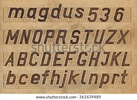 Hand drawn sketch alphabet on old paper. Handwritten font.  Letters, uppercase, lowercase, numbers. - stock photo