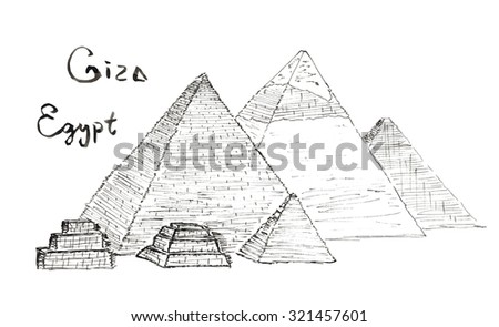 Hand drawn Sketch illustration architecture landmark of Pyramids of Giza, Egypt lettering isolated