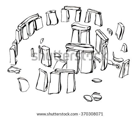 Hand drawn sketch illustration architecture landmark of Stonehenge United Kingdom isolated - stock photo