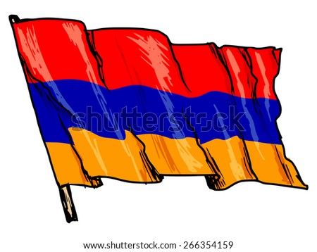 hand drawn, sketch, illustration of flag of Armenia - stock photo