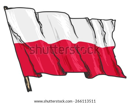 hand drawn, sketch, illustration of flag of Poland