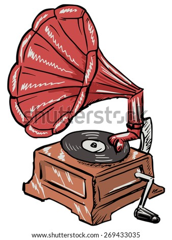 hand drawn, sketch illustration of phonograph - stock photo