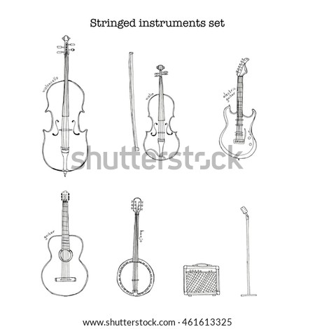 Hand drawn sketch illustration of stringed instruments set with microphone on the stand and an electronic amplifier and lettering violoncello, violin, guitar, electric guitar, banjo isolated on white