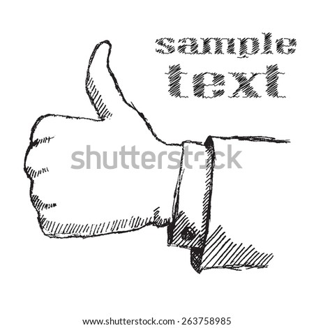 Hand drawn sketch like hand isolated on white background - stock photo