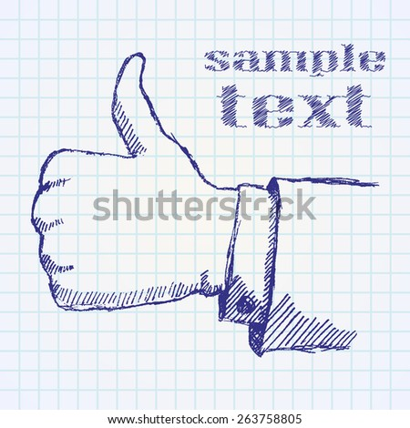 Hand drawn sketch like hand on paper notebook. - stock photo