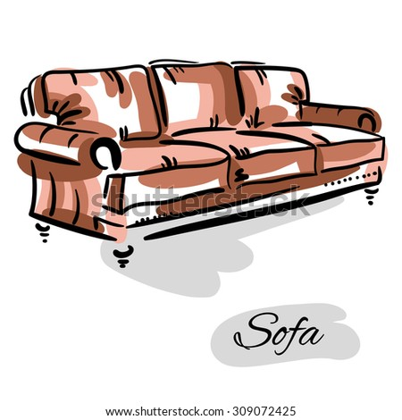 Hand drawn sketch of a leather brown couch. Elegant furniture. - stock photo