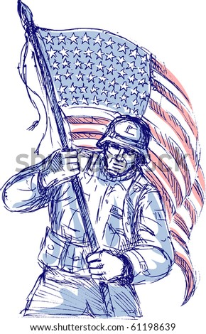 hand drawn sketch of an American soldier in full battle gear carrying stars and stripes flag isolated on white background - stock photo