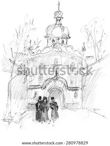 Hand drawn sketch of cathedral - stock photo