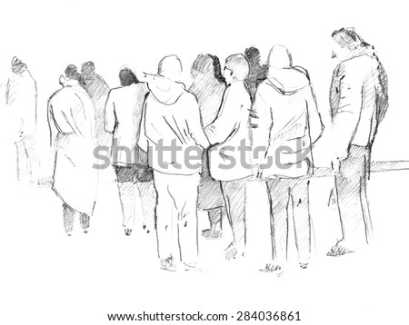 Hand drawn sketch of crowd - stock photo