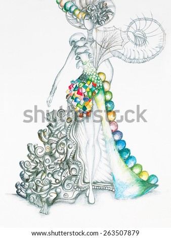 hand drawn sketch of fashion model in surreal colorful dress - stock photo