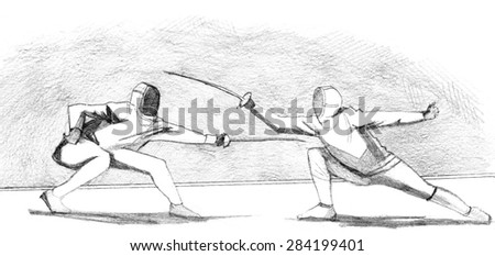 Hand drawn sketch of fencers
