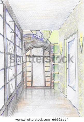 Hand drawn sketch of hallway - stock photo