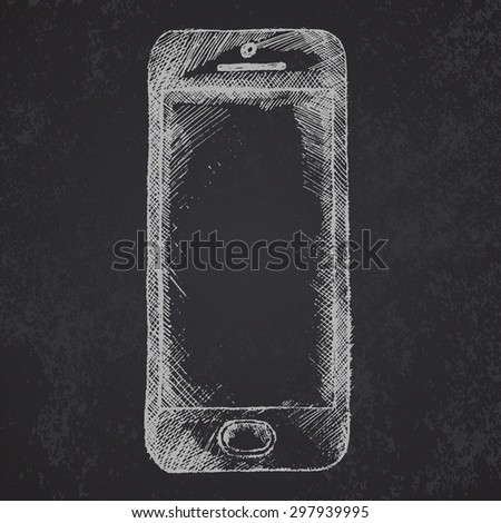 Hand drawn sketch of mobile phone front on chalkboard, raster. - stock photo