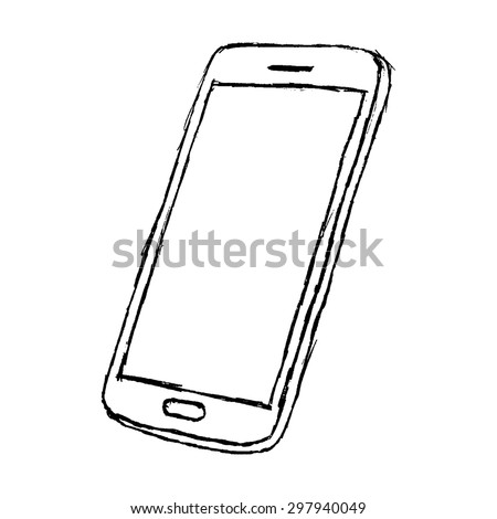 Hand drawn sketch of mobile phone outlined isolated on white background.raster - stock photo