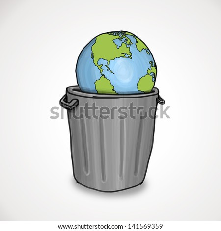 Hand drawn sketch of the world lying in a trash can