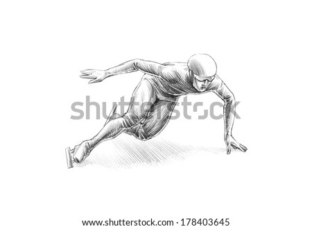 Hand-drawn Sketch, Pencil Illustration of a Short Track Speed Skater | High Resolution Scan, Decent Copy Space - stock photo
