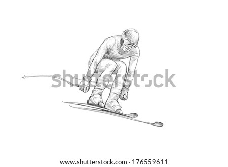 Hand-drawn Sketch, Pencil Illustration of an Alpine Skier Jumping Downhill  - stock photo