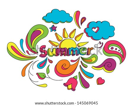 Hand drawn sketch style doodle illustration with summer elements. - stock photo
