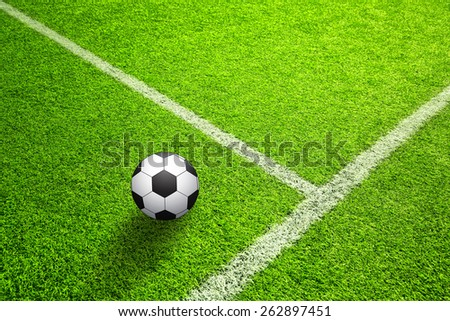 Hand drawn (sketch style) soccer field or football field with illustrated soccer ball on sunny green grass background.