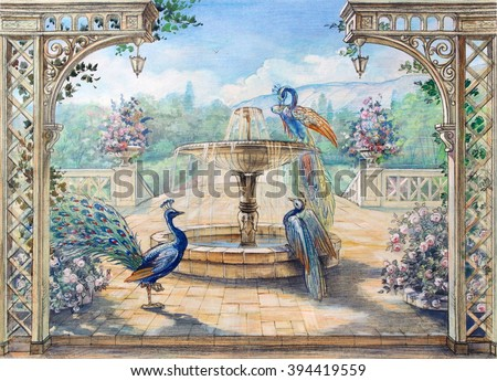 Hand drawn sketch with landscape and peacock. Watercolor painting. Colored drawing with fountain and birds. Park view. - stock photo