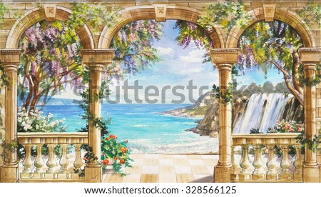 Hand drawn sketch with landscape. Watercolor hand drawn sketch with seascape. Watercolor drawing with seascape. View from the terrace on the sea with flowering trees. View from arch on the sea. - stock photo