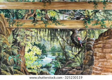Hand drawn sketch with landscape. Watercolor landscape with jungle and waterfall. - stock photo