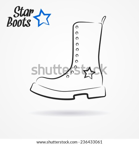 Hand drawn sketchy logo with stylized military boots and star - stock photo