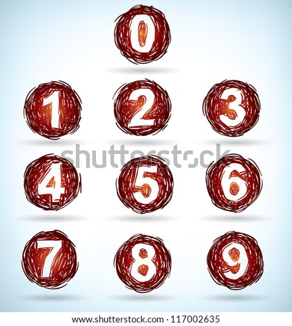 Hand-drawn sketchy numbers inside a circle of scribble - stock photo