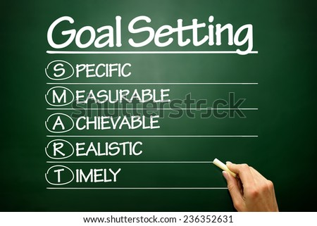 Hand drawn SMART Goal Setting, business concept on blackboard - stock photo
