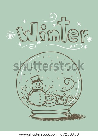 """Hand drawn snow globe with snowman and trees and """"Winter"""" text. - stock photo"""
