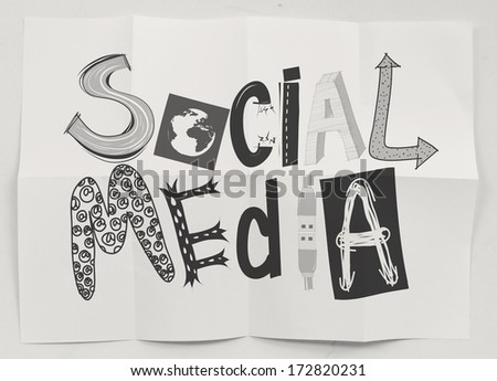 hand drawn social media icons on crumpled paper background as concept - stock photo