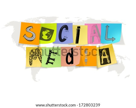hand drawn social media words on sticky note on world map background - stock photo