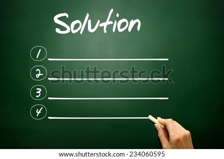 Hand drawn Solution blank list concept on blackboard - stock photo