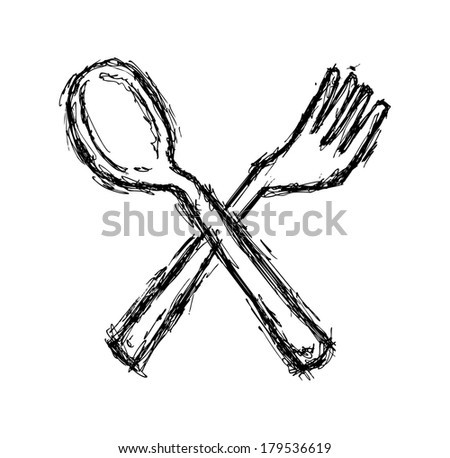 hand drawn spoon and fork