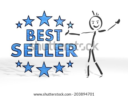 hand drawn stick man presents a best seller sign white background - stock photo